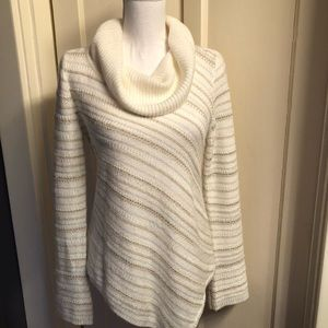 WHBM Asymmetric Striped Sweater Pullover Cowl